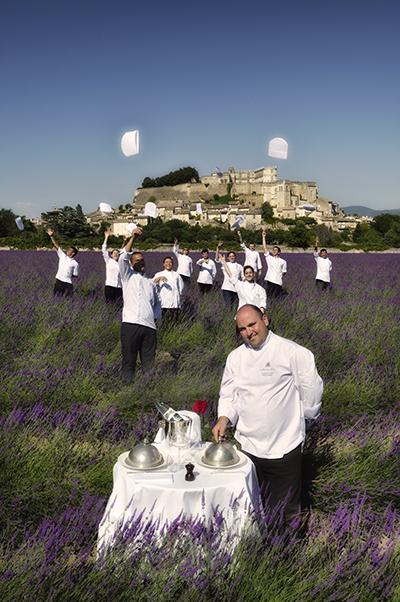 le chef de cuisine julien allano team in the lavander fields at grignan